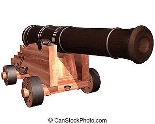 antik, hajó, löveg