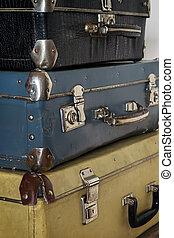 antik, hanglejtés, kazal, bőrönd, fénykép, retro, style.
