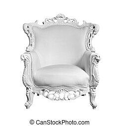 antik, hvid, læder stol, isoleret, på hvide