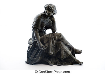 antik, hvid, metal, baggrund, statue