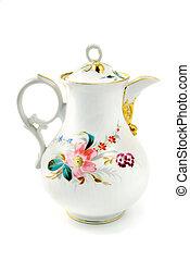 antik, kávécserje, elkészített, edény, biedermeier, times., porcelán