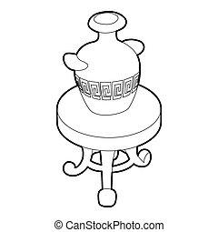 antik, kávécserje, váza, asztal, kerek, ikon