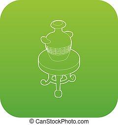 antik, kávécserje, váza, vektor, zöld asztal, kerek, ikon