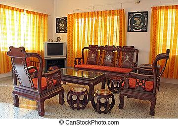 antik, kínai, rózsafa, berendezés
