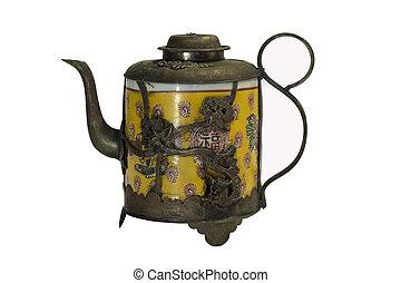 antik, kínai, teáskanna