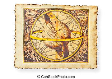 antik kartlagt, av, värld