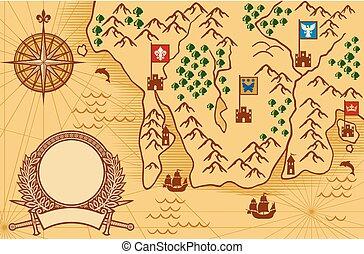 antik kartlagt, gammal, map), karta, (ancient