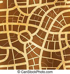 antik kartlagt, gammal, papper, mönster, seamless, strukturerad