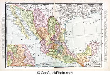 antik kartlagt, mexico, färg, årgång, engelsk