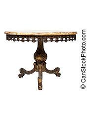 antik, kerek, mable, asztal, white, háttér