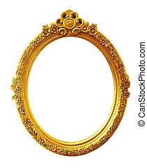 antik, keret, öreg, arany