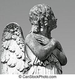 antik, kirkegård, engel, figur