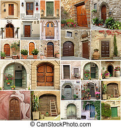antik, kollázs, olaszország, ajtók