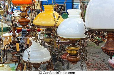 antik, lámpa, függő
