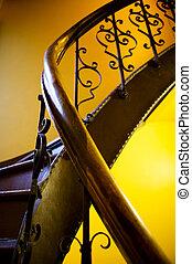 antik, lépcsőház, védőkorlát