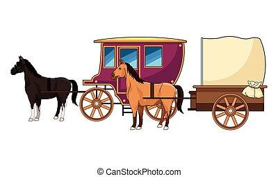 antik, ló, csapágyak, állat, traktor