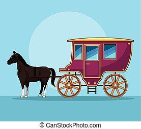 antik, ló, kocsi, jármű