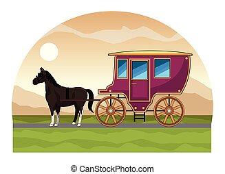 antik, ló, kocsi, traktor, állat