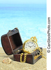 antik, lomme, ur, en, skat chest, på, en, strand