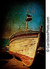 antik, mód, grunge, hajótörés, berozsdásodott, csónakázik