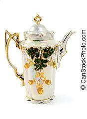 antik, nouveau, kávécserje, elkészített, művészet, edény, porcelán
