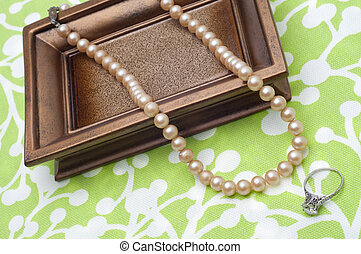 antik, perler, og, engagement diamant kling
