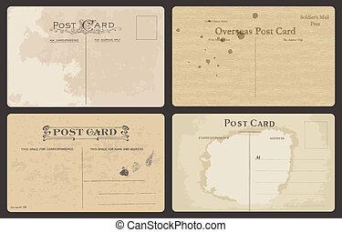 antik, postkort, sæt, vektor
