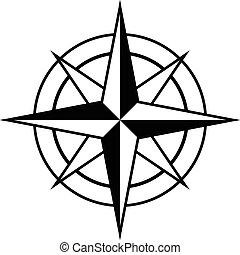 antik, rózsa, mód, iránytű, ikon
