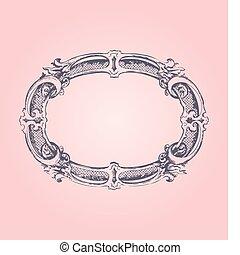 antik, rózsaszínű, keret