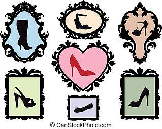 antik, rammer, silhuetter, sko