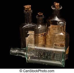 antik, recept gyógyszer, palack