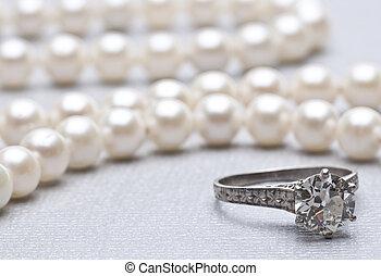 antik, ring bryllup, og, perler, vid