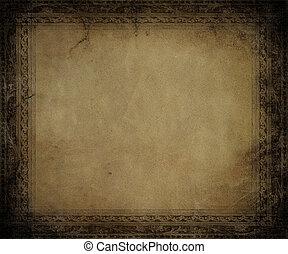 antik, sötét, keret, domborított, pergament