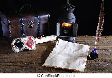antik, skrivebord, hos, parchments