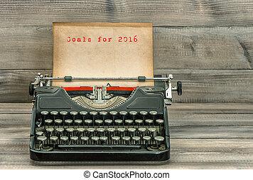 antik skrivmaskin, paper., mål, för, 2016., affärsidé