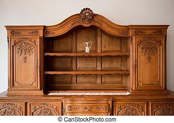 antik, skuffer, brystkassen, boghylde, furniture