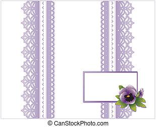 antik, snørebånd, stedmoderblomst, blomst, card