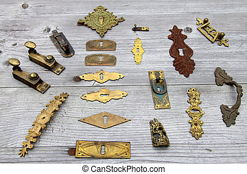 antik, sok, hardver, ajtó zár