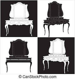 antik, spejl, commode