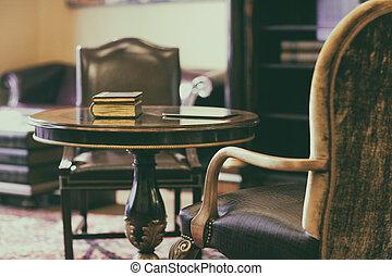 antik, stol, gulvtæppe