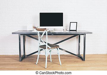 antik, stol, hos, designeren, skrivebord