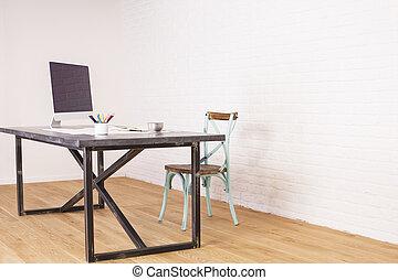 antik, stol, og, designeren, skrivebord
