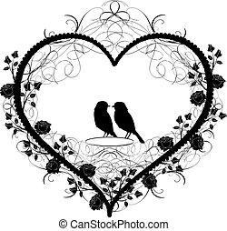 antik, szív, vectors, díszítés