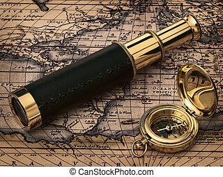antik, szüret, óra, térkép