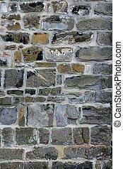 antik, szürke, megkövez, öreg, fal, grunge, kőművesség