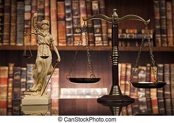 antik, szobor, közül, igazságosság, törvény, előjegyez, háttér