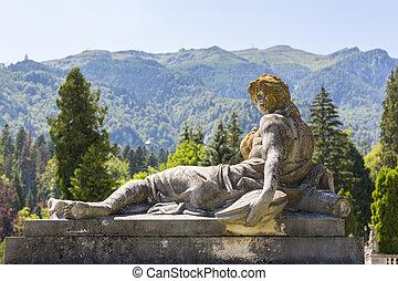 antik, talapzat, nő, szobor