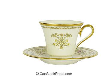 antik, te kop, og, underkop, isoleret