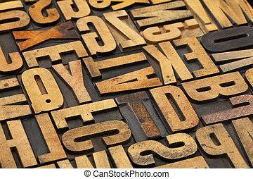antik, træ, alfabet, abstrakt