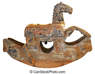 antik, træagtig rokke hest